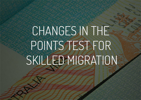 Changes in the points test for skilled migration