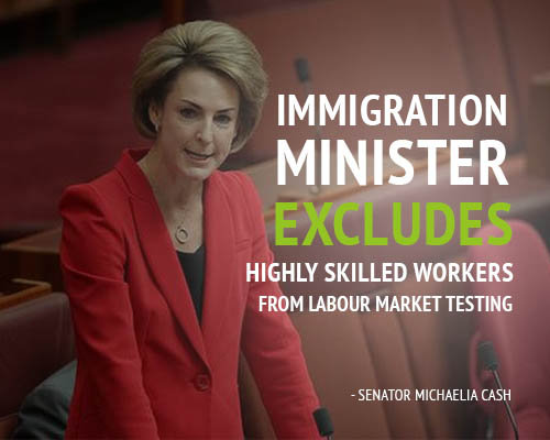 Australian immigration minister exempts highly skilled workers from LMT
